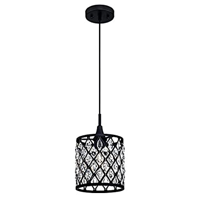 Westinghouse Lighting 6362700 Waltz One-Light Mini, Matte Black Finish Mesh with Crystals Indoor Pendant, 1 Seeded Glass
