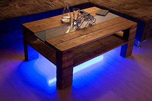 """Couchtisch Palettenmöbel""""Turin"""" mit Glasplatte + LED Beleuchtung Nussbaum Europaletten Stil"""