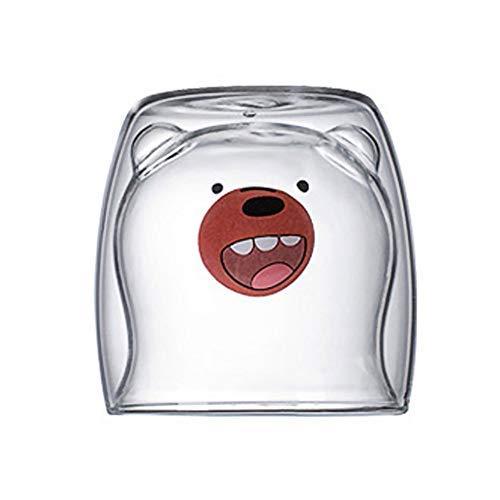 ZHIRCEKE Saftmilchbecher nach Hause 3D süße Bärenbecher, doppelwandige süße Bärenkatze Panda Espressotassen Tassen, warme und kalte Kaffee-Tee-Saft-Tassen, 210 ml,A