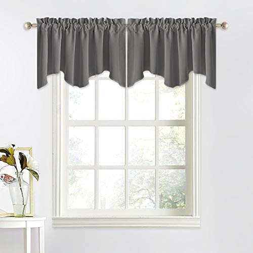 NICETOWN Bedroom Blackout Window Valances - 52 inches by 18 inches Scalloped Rod Pocket Window Treatment Sets Home Decoration Curtains Tier Panel for Kitchen (Grey, 2 Panels)