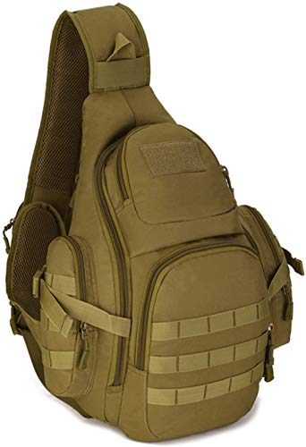 ACOMOO Tactical Chest Sling Backpack Large Molle Shoulder Bag Water Resistant Cross Body Assault Rucksack iPad Case for Hiking Camping Trekking Brown