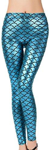 Crazy Girls Verrückte Mädchen Damen Sexy Meerjungfrau Fisch Skala Hologramm Stretch Soft Shine Leggings EU36, EU38, EU40, EU42 (M/L -...
