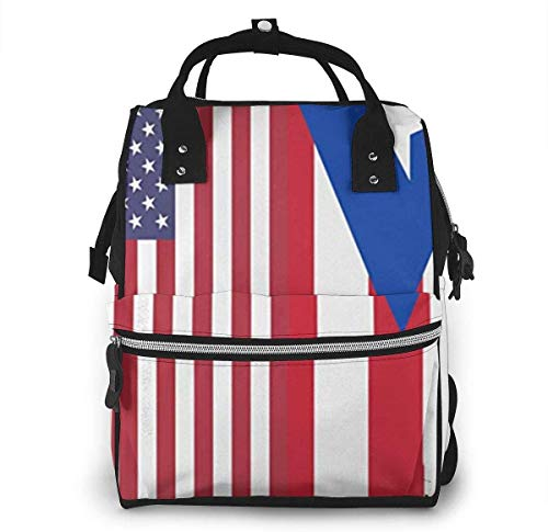 Diaper Bag Backpack Travel Bag Large Multifunction Waterproof Puerto Rico American Flag Stylish and Durable Nappy Bag for Baby Care School Backpack