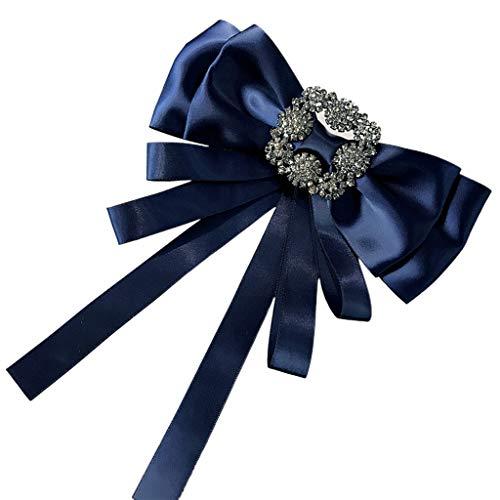 GHBOTTOM Corbata para el cuello, mujeres y niñas, vintage, de satén, cinta larga, broche de lazo con diamantes de imitación, hebilla cuadrada en capas, cuello de camisa, alfiler de pre-corbata