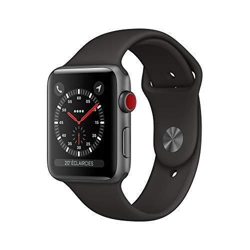 Apple Watch Series 3 (GPS + Cellular, 42mm) Aluminiumgehäuse Space Grau - Sportarmband Schwarz
