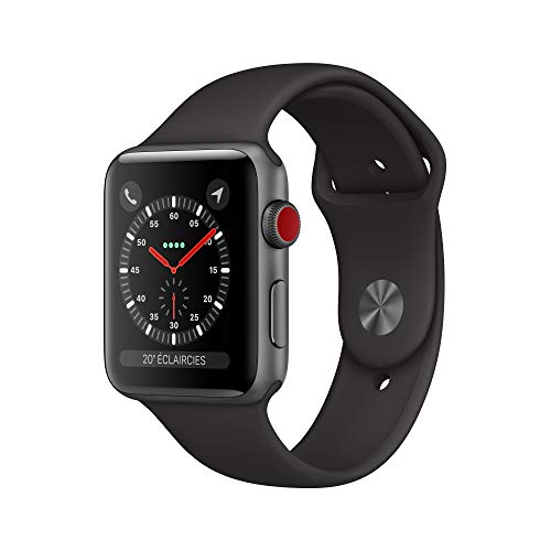 Apple Watch Series 3 (GPS + Cellular), 42 mm Aluminiumgehäuse, Space Grau, mit Sportarmband, Schwarz