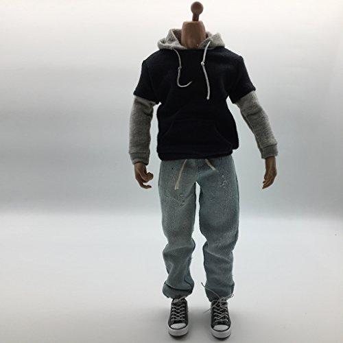 FLAMEER 1/6 Escala Ropa para Hombre Negro Sudadera con Capucha Jeans De Mezclilla Tapa De Los Zapatos De Lona - Azul Negro Gris