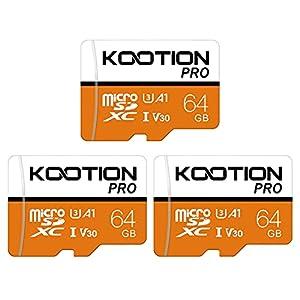 64GB Micro SD Card 3 Pack Ultra Micro SDXC Memory Card 64 GB U3 A1 V30 High Speed TF Card R Flash, U3, 64 GB