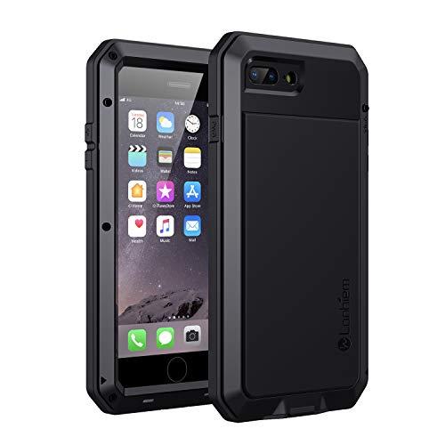 Lanhiem Coque iPhone 7 Plus/iPhone 8 Plus, [Antichoc] [Métal et Rigide] Militaire avec du Verre trempé Integrale Indestructible Chantier Antipoussière Etui [Compatible Charge sans Fil] - Noir