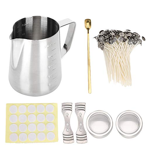 Candle Making Kit mit 550 ml Edelstahl Schmelztiegel, 100x Candle Dochte, 2X Candle Tin Jar, 1x Mixing Spoon