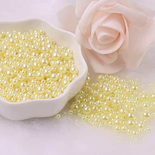 Multi Tamaño 1.5-8mm Perlas sin Agujero Multicolores Redondo Acrílico ABS Perlas de Imitación de Perlas para DIY Craft Scrapbook Decoración de Uñas-Amarillo Claro, 2.5mm 1000Pcs