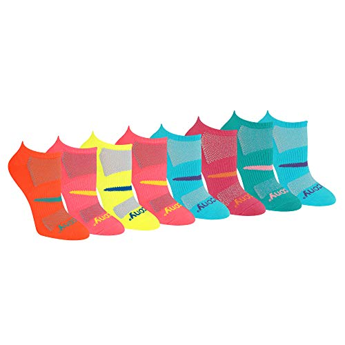 Saucony Women's Performance Super Lite No-Show Athletic Running Socks Multipack, Light Assorted (8 Pairs), Shoe Size: 5-10