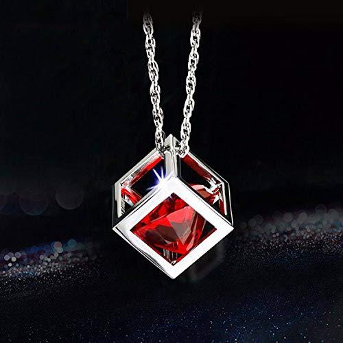 SQINAA Diamond Cube Crystal Car Rear View Mirror Charms, Car Accessories, Sun Catcher Hanging Ornament w/Chain, Car Charm & Home Decor Ornament,Red
