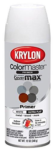Krylon K05131507 ColorMaster Paint + Primer, Ultra Flat Primer, White, 12 oz.