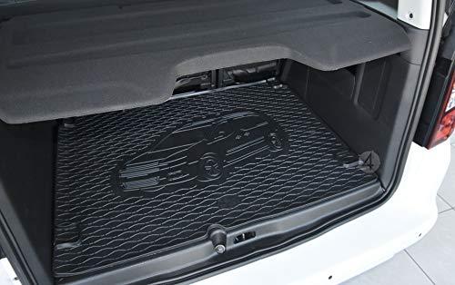 Passgenau Kofferraumwanne geeignet für Citroen Berlingo 5 Sitze ab 2008 ideal angepasst schwarz Kofferraummatte + Gurtschoner