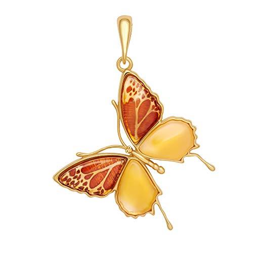 ANDANTE Premium Collection – Colgante de ámbar del mar Báltico auténtico en plata de ley 925 ** Mariposa ** Certificada - Oro del mar - Color coñac