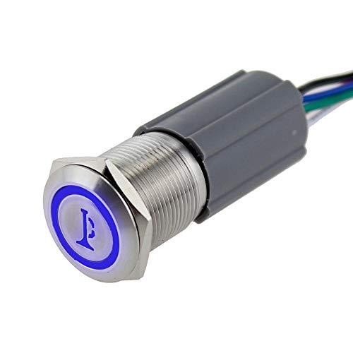 HUYANJUN HYJ-LABA, Interruptores de botón de bocina de Coche Marino de Acero Inoxidable Interruptores 12V 24V Accesorios Auto Auto Accesorios RESETE BOTÓN DE Interruptor (Color : Blue, Voltage : 24V)