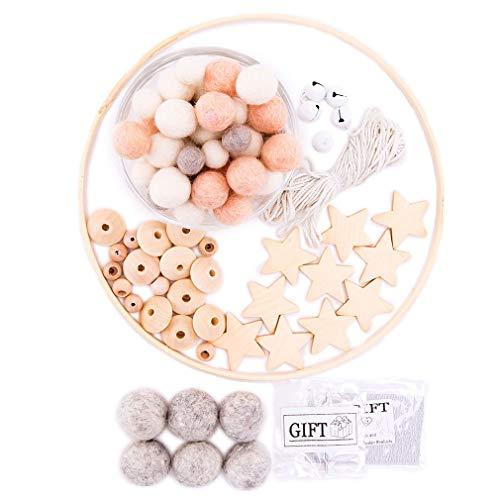 let's make Nordic Filzkugeln Girlande Hell Dekor DIY Kindergarten Mobile Baby Dusche Geschenk für Baby Mädchen Room Decor (Pfirsich)