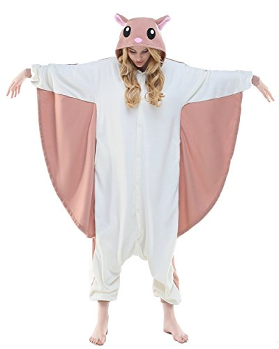 NEWCOSPLAY Adult Unisex Flying Squirrel Onesie Pajama Costume (S, Flying Squirrel)