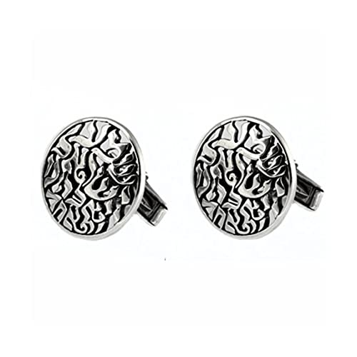 Handmade Shema Israel Round Cufflinks for Men in 925 Sterling Silver 22.5 mm by Baltinester Jewelry