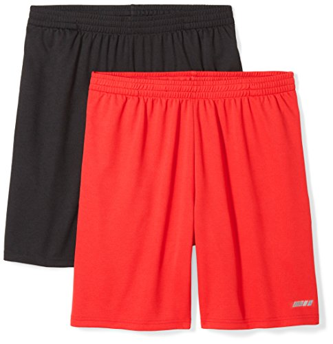 Amazon Essentials Men's 2-Pack Loose-Fit Performance Shorts, Black/Red, XX-Large