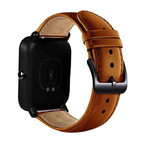 Hebilla negra de cuero genuino para Xiaomi huami Amazfit Bip BIT PACE Lite correa de reloj juvenil pulsera de fitness