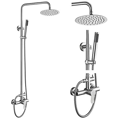 Grifo de ducha para exteriores SUS304 de acero inoxidable, kit de cabezal de ducha de lluvia de 8 pulgadas, con mango único, de alta presión, 2 cepillos de doble función, níquel y mango único