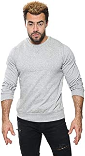 shelikes Men's Sweatshirt Solid Fitted Crew Long Sleeves Sweater T-Shirt