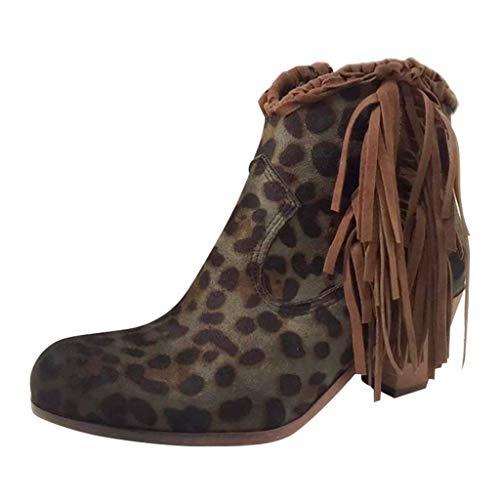 Botas Vintage de Mujer,ZARLLE Botines Mujer Tacon Ancho,Moda Zapatos R