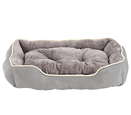 Dehner Hunde- und Katzenbett Sammy, ca. 90 x 70 x 20 cm, Polyester, grau