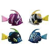 BNNEW Paquete de 4 Juguetes de pez Robot de natación para niños con luz LED, Juguetes interactivos de Movimiento de Peces Juguetes eléctricos de Peces Juguetes de bañera activados por Agua para Gatos