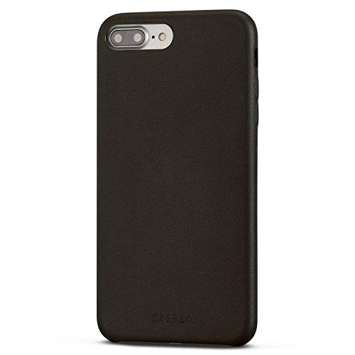 """Funda iPhone 8 Plus/Funda iPhone 7 Plus Negra - CASEZA Rome Piel PU Case Negro Cover Carcasa Tapa Trasera Piel Vegana Premium para Apple iPhone 8 Plus & 7 Plus (5.5"""") Ultrafina Protección Completa"""