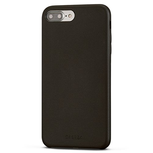 Cover iPhone 8 Plus/Cover iPhone 7 Plus Nera - CASEZA'Rome' Case in Pelle PU Nero Custodia Posteriore Pelle Vegana per Apple iPhone 8 Plus & 7 Plus (5.5') - Protezione Completa Ultra Sottile