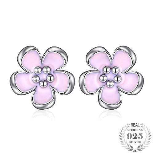ZHWM - Pendientes de aro de plata de ley 925, diseño de margaritas moradas, joyería para mujer