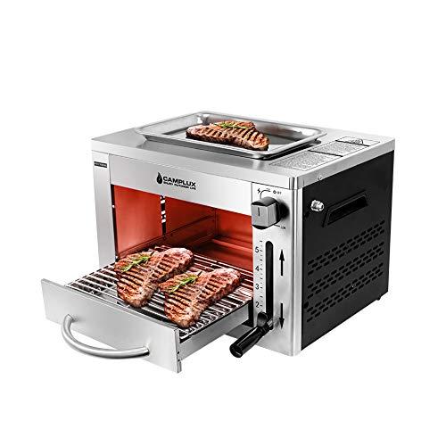 Camplux SG102 Tragbar Oberhitze Gasgrill 3,2kW, Hochleistungs Steakgrill aus Edelstahl, 880°C Hochtemperaturgrill mit 5 Höhenstufen