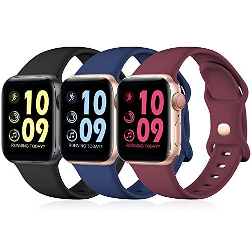 Maledan 3 Stück Armband Kompatibel mit Apple Watch Armband 44mm 42mm 40mm 38mm 41mm 45mm, Weiche Silikon Ersatz Sport Band für iWatch SE/Series 7 6 5 4 3, 38mm/40mm/41mm-S/M, Schwarz/Blau/Weinrot