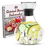 Borosilikat Glaskaraffe, 1.5L, mit Edelstahldeckel - inkl. E-Book mit 88 tollen Getränkerezepten. Karaffe, Wasser Karaffe, Wasserkrug, Wasserkanne,glaskanne, auch perfekt als Geschenk geeignet -