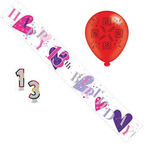 Verjaardagsfeestset voor de 13e verjaardag, voor meisjes, met banner, ballonnen, kaarsen, kleine speld