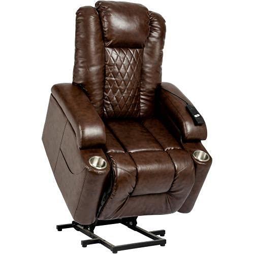 BBABBT Silla elevadora eléctrica reclinable para personas mayores, sillón reclinable de cuero con bolsillo lateral y portavasos, sofá reclinable para sala de estar, dormitorio, oficina