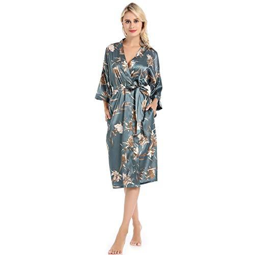 Kimono Cardigan Women Satin Ladies Badjas Lang Gewaad Luxe Patroon Nightwear Badjas Longblouse Nightgowns Cover Up Loose Top Uitloper Sleepshirts (Size : S)