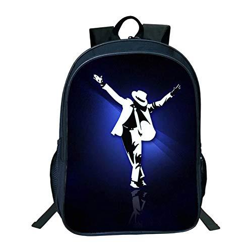 Mochila Michael Jackson MJ Picture Estudiantes Gran Capacidad Doble Cubierta Bolsa Escolar