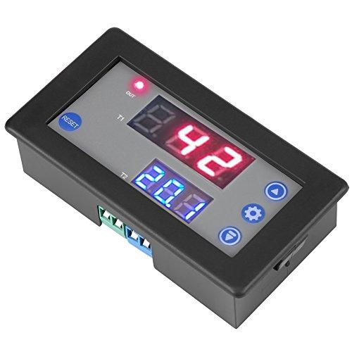 Relé temporizador de 12 V, módulo de relé de retardo de temporización de 12 V CC, temporizador de ciclo del módulo con pantalla dual LED digital, encendido y apagado de 1500 W, disparador de hora minu