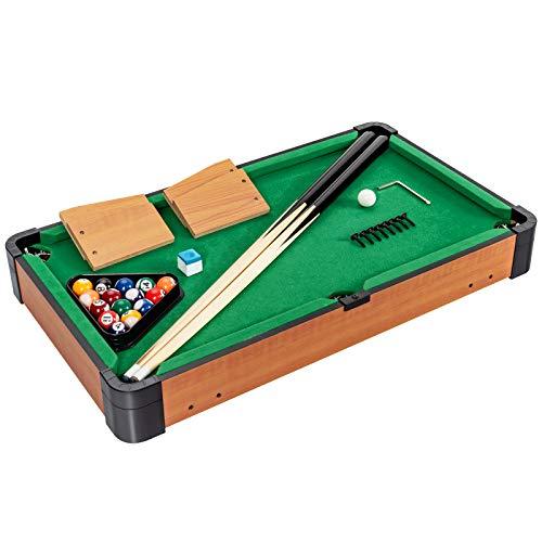 GOPLUS Mini Pool Billardtisch, aus Holz, 2 Queues Kugeln Dreieck Kreide, Einfach zum Mitnehmen, Ideal auf jeder Tischplatte, ab 3 Jahren, Geschicklichkeitsspiel für Familie Party