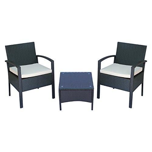 Outsunny Set Mobili da Giardino 2 Poltroncine e Tavolino con Cuscini PE Rattan, Nero