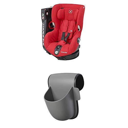 Maxi-Cosi Axiss, drehbarer Kindersitz, Gruppe 1 Autositz (9-18 kg), nutzbar ab 9 Monate bis 4 Jahre, nomad red + Pocket Becherhalter, grau