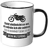 JUNIWORDS Tasse - Ich denke an Motorrad - Wähle Motiv & Farbe - Schwarz