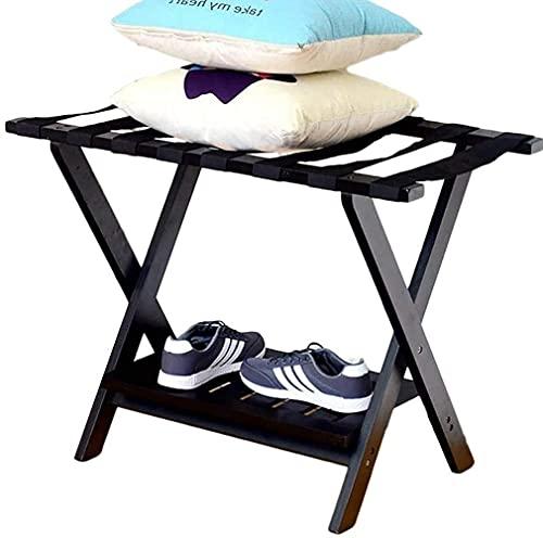 Bagagli bagagli pieghevoli portabagagli pieghevoli portabagagli portabagagli in legno massello supporto valigia 2 strato nero Deposito bagagli professionale rack per scarpe da scarpe bagagli stand per