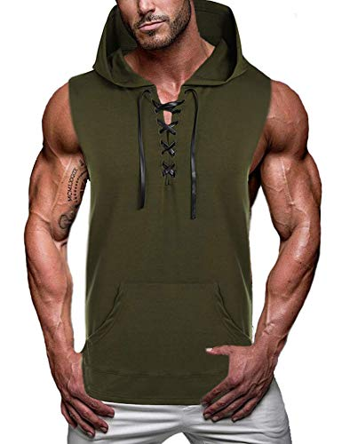 COOFANDY Mens Casual Hipster Hip Hop Sleeveless Lace-up Tank Hooded with Pockets, Deep Green, Medium