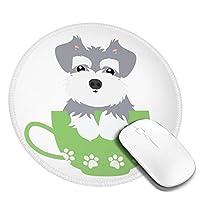 団子dadabuliu マウスパッド 円形 小形 シュナウザー 犬 子犬 キュート カップ ゲーミング ゴム底 光学マウス対応 滑り止め エレコム 耐久性が良い おしゃれ かわいい 防水 サイバーカフェ オフィス最適 適度な表面摩擦 直径:20cm