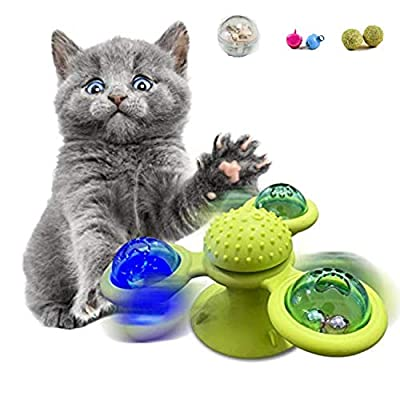 [2020 New] Windmill Cat Toy Interactive Cat Catnip Toy for Indoor Cats,Kitten Toys Cat Toothbrush Toy Cats Hair Brush Turntable Massage Scratching Tickle Toy with Suction Cup & Bell 3-Leaves Green